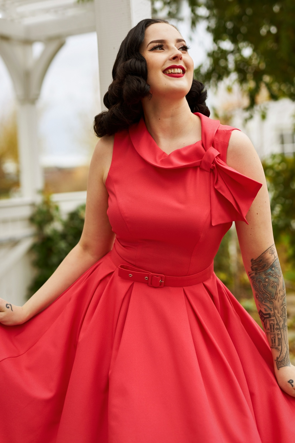 1950s Dresses, 50s Dresses | 1950s Style Dresses 50s Thelise Swing Dress in Coral Pink £106.43 AT vintagedancer.com