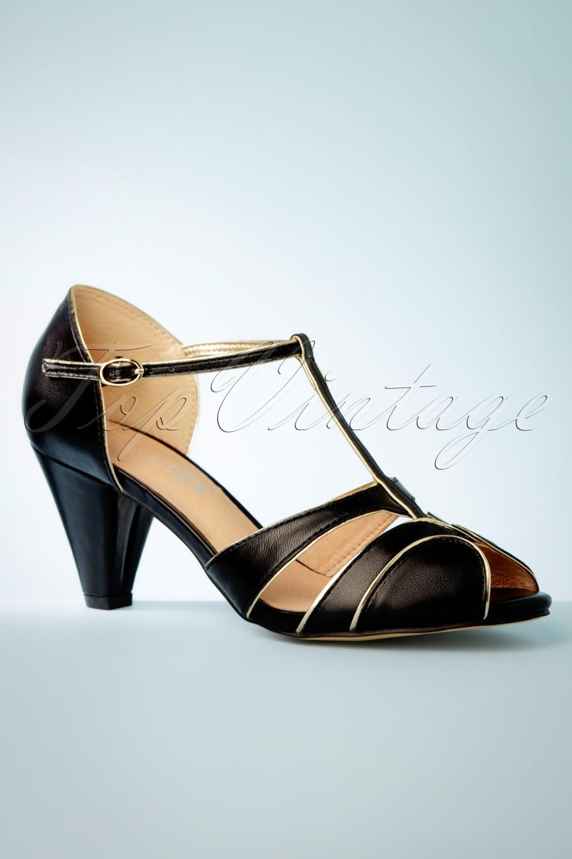 Vintage Heels, Retro Heels, Pumps, Shoes 40s Penelope Peeptoe Pumps in Black £57.74 AT vintagedancer.com