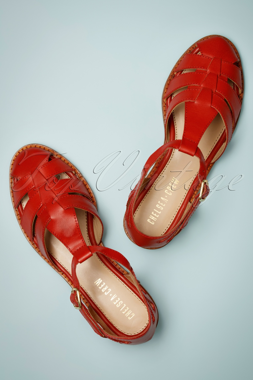 1930s Shoes – Art Deco Shoes, Heels, Boots, Sandals 60s Carina Leather Sandals in Red £24.95 AT vintagedancer.com