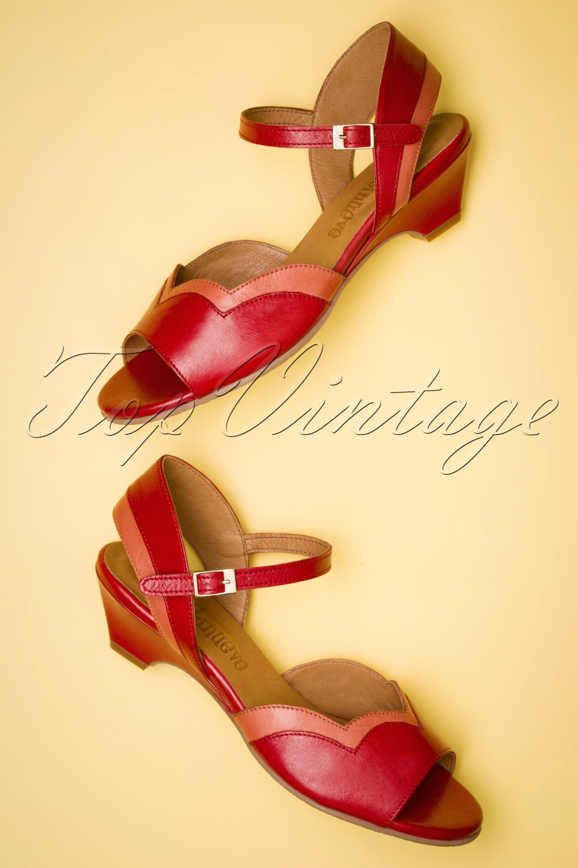 red low heel wedges