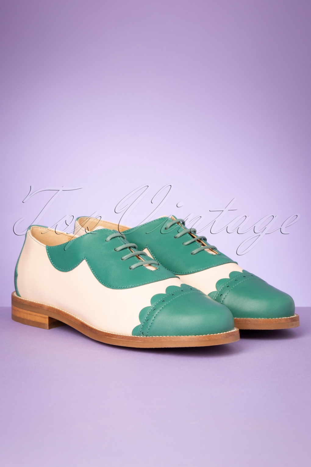 1960s Style Dresses, Clothing, Shoes UK 60s Mika Oxford Shoes in Turquoise and Cream £84.02 AT vintagedancer.com