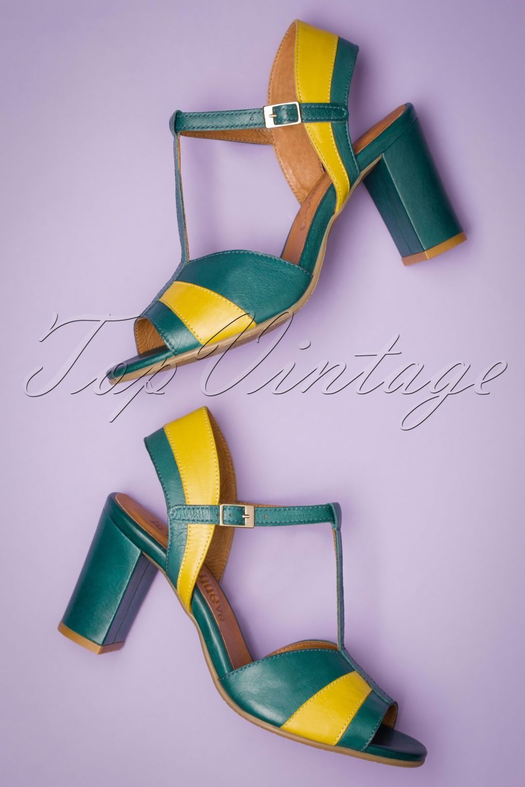 1960s Style Clothing & 60s Fashion 60s Candy High Heel Sandals in Dark Turquoise and Yellow £24.95 AT vintagedancer.com