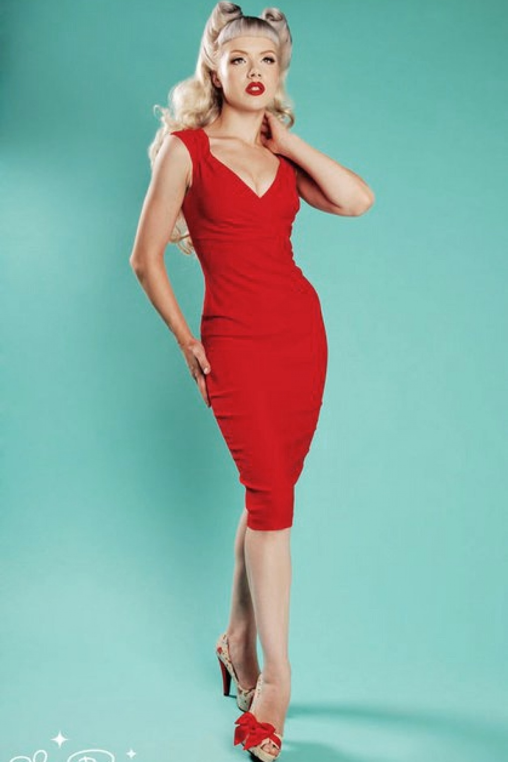 Pinup couture 50s erin wiggle dress red ombrellifo Gallery