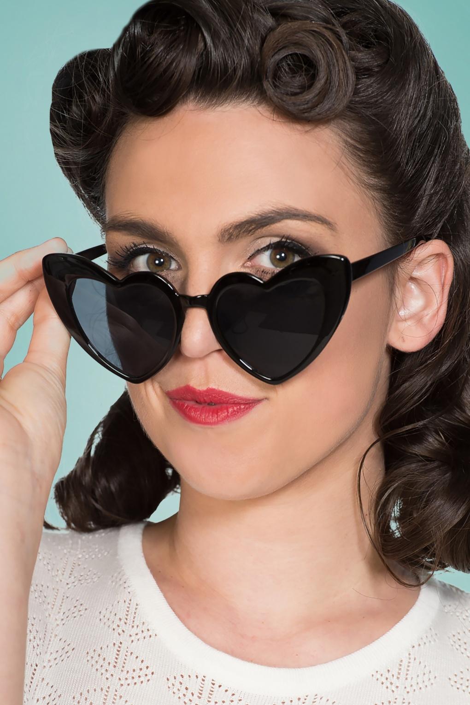 1950s Glasses, Sunglasses History for Women 50s Melba Heart Shaped Sunglasses in Black £24.95 AT vintagedancer.com