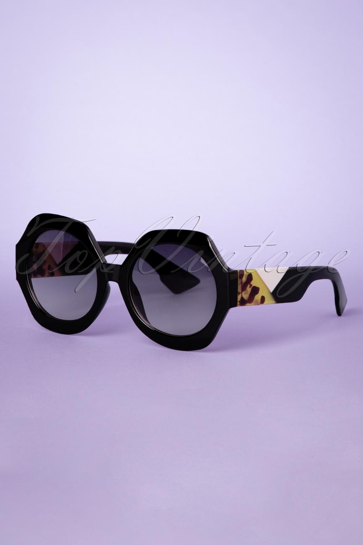 1950s Glasses, Sunglasses History for Women 50s Elba Sunglasses in Black £24.95 AT vintagedancer.com