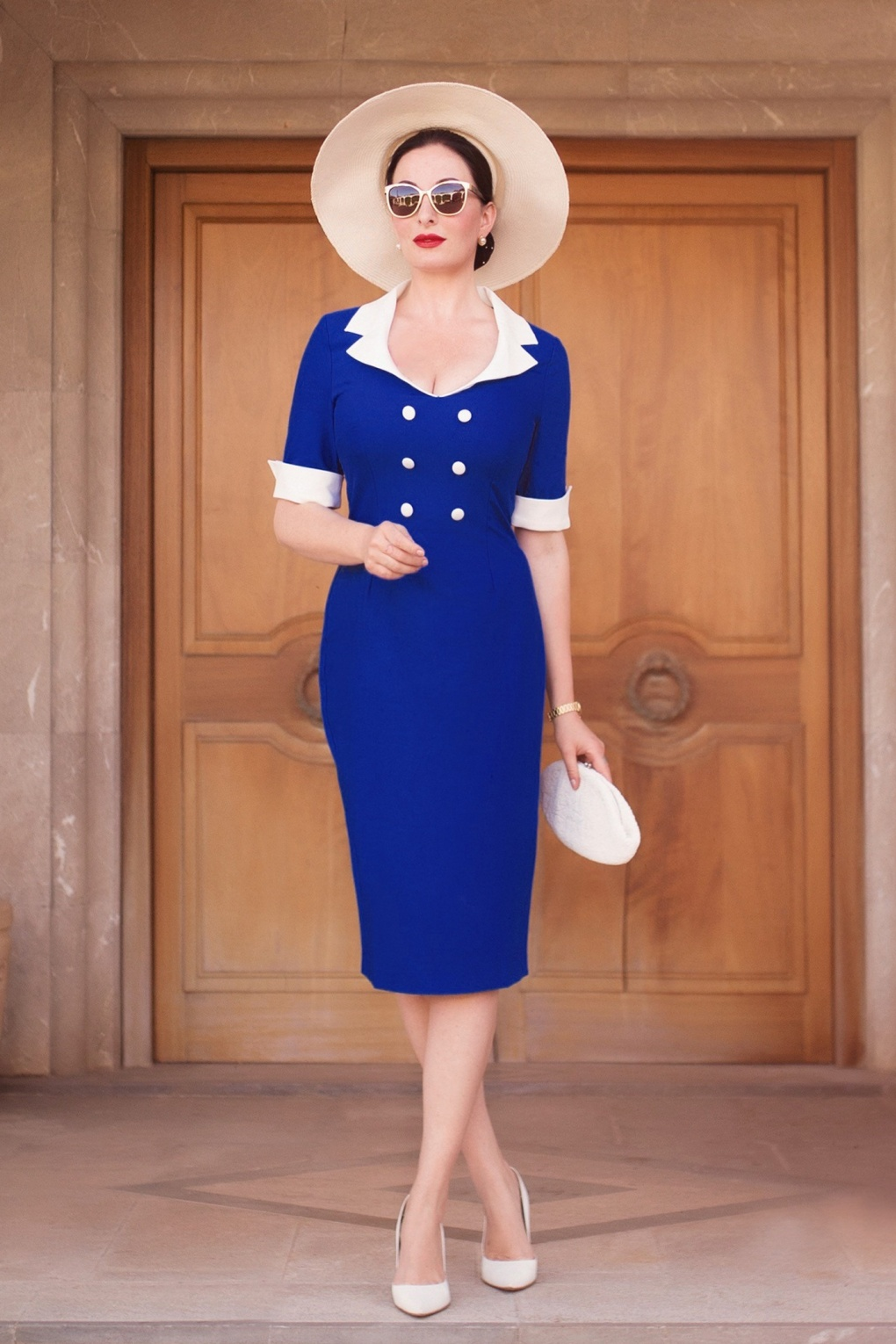 Sailor Dresses, Nautical Theme Dress, WW2 Dresses 50s Janice Pencil Dress in Royal Blue £70.03 AT vintagedancer.com