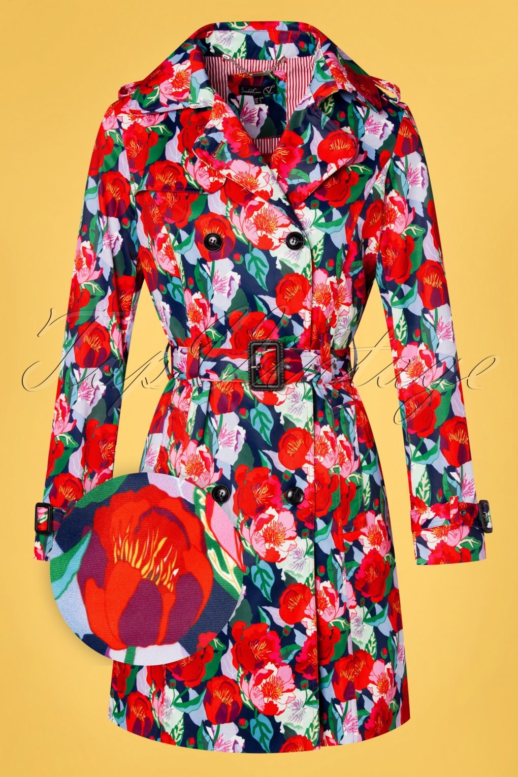 Vintage Coats & Jackets | Retro Coats and Jackets 60s Floral Fun Trench Coat in Multi £117.70 AT vintagedancer.com
