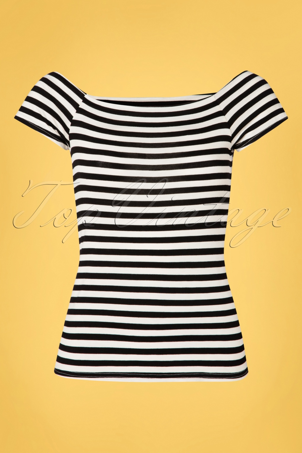 50s Shirts & Tops 50s Sandra Dee Striped Top in Black and Ivory  AT vintagedancer.com