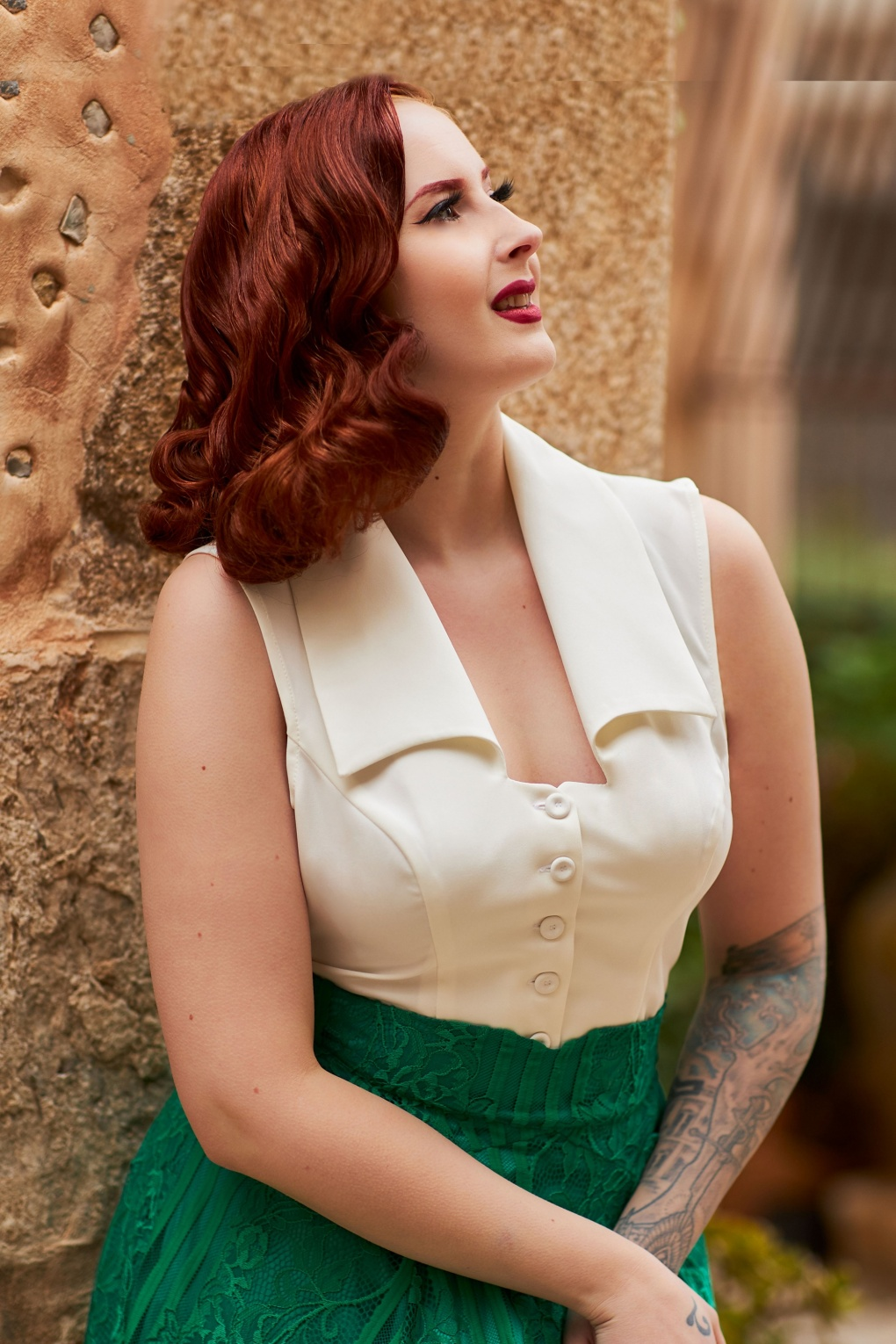 1950s Rockabilly & Pin Up Tops, Blouses, Shirts 50s Amaia Blouse Top in Pearl £58.54 AT vintagedancer.com