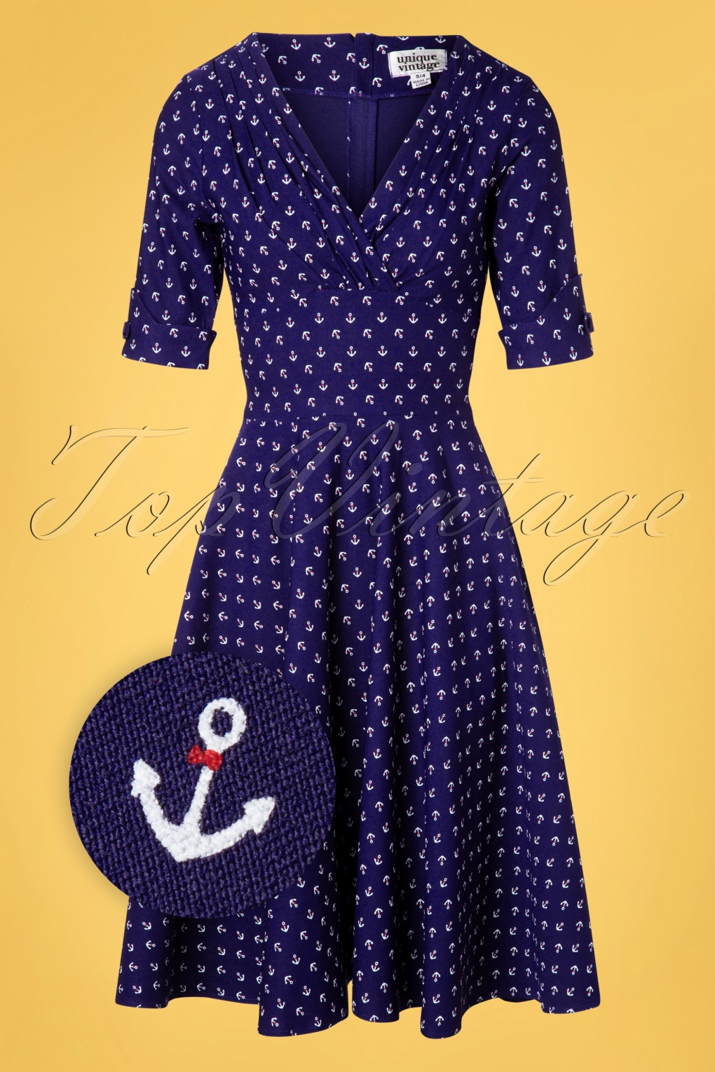 1950s Dresses, 50s Dresses | 1950s Style Dresses 50s Delores Anchor Swing Dress in Royal Blue £113.69 AT vintagedancer.com