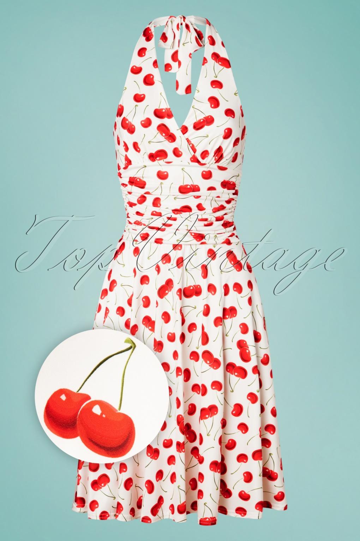 500 Vintage Style Dresses for Sale | Vintage Inspired Dresses 50s Yolanda Cherries Halter Dress in White £45.24 AT vintagedancer.com