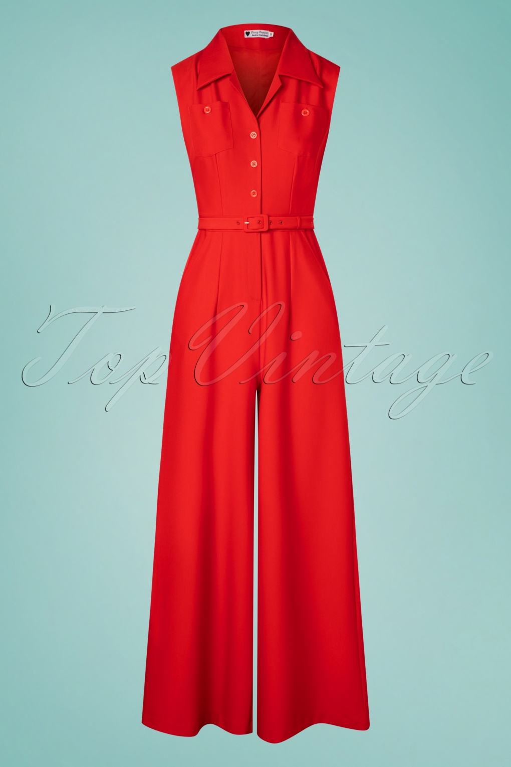 1940s Dresses and Clothing UK | 40s Shoes UK 40s Aggy Jumpsuit in Red £72.98 AT vintagedancer.com