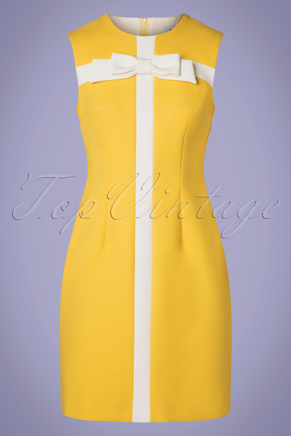 60s Dresses   1960s Dresses Mod, Mini, Hippie 60s Suze Bow Dress in Pale Yellow and Ivory £131.08 AT vintagedancer.com