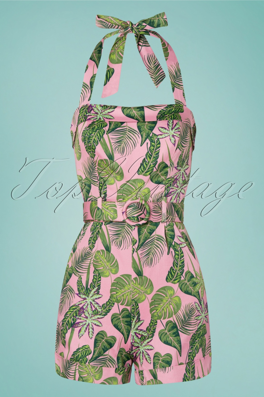 Vintage Rompers, Playsuits | Retro, Pin Up, Rockabilly Playsuits 50s Jojo Forest Playsuit in Pink £24.95 AT vintagedancer.com