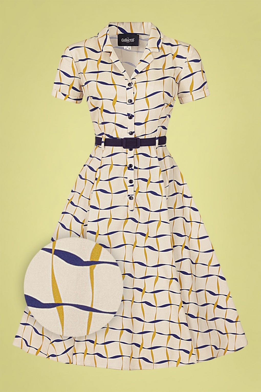 Vintage Shirtwaist Dress History 60s Caterina Ribbon Check Swing Dress in Cream £70.49 AT vintagedancer.com
