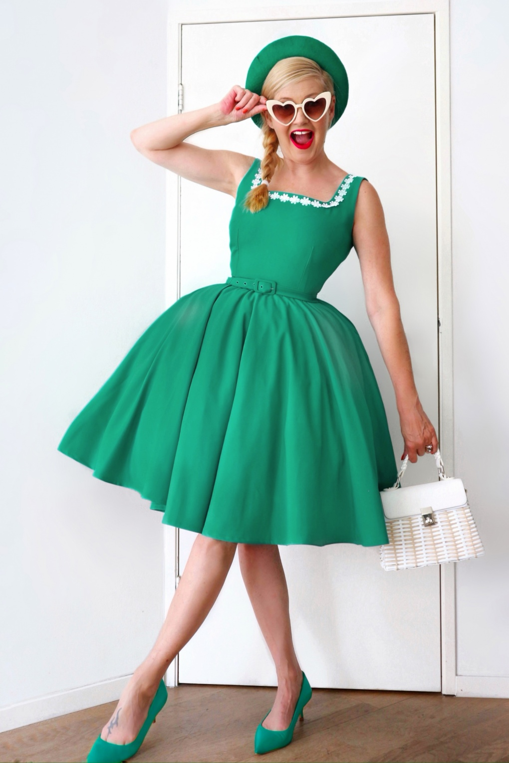 1950s Dresses, 50s Dresses | 1950s Style Dresses 50s Rosie Swing Dress in Turquoise £90.12 AT vintagedancer.com