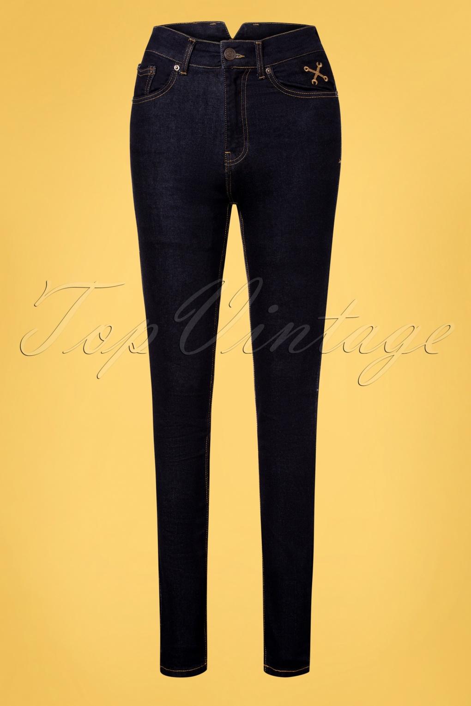 1950s Pants & Jeans- High Waist, Wide Leg, Capri, Pedal Pushers 50s Betty Skinny Jeans in Dark Blue £24.95 AT vintagedancer.com