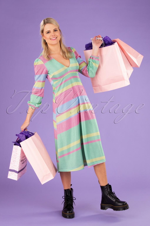 70s Dresses – Disco Dress, Hippie Dress, Wrap Dress 70s Mama Mia Glitter Dress in Multi £135.82 AT vintagedancer.com