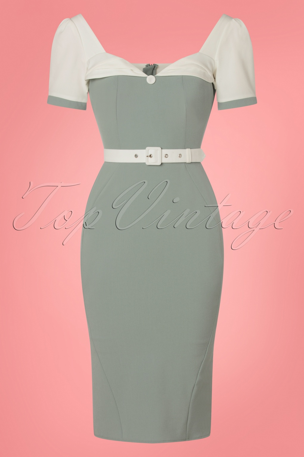 1950s Pencil Dresses & Wiggle Dress Styles 50s Buttercup Wiggle Dress in Mint £104.12 AT vintagedancer.com