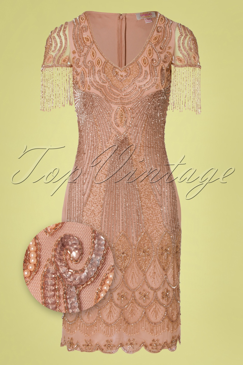 1920s Fashion & Clothing | Roaring 20s Attire 20s Marta Flapper Dress in Blush £116.26 AT vintagedancer.com