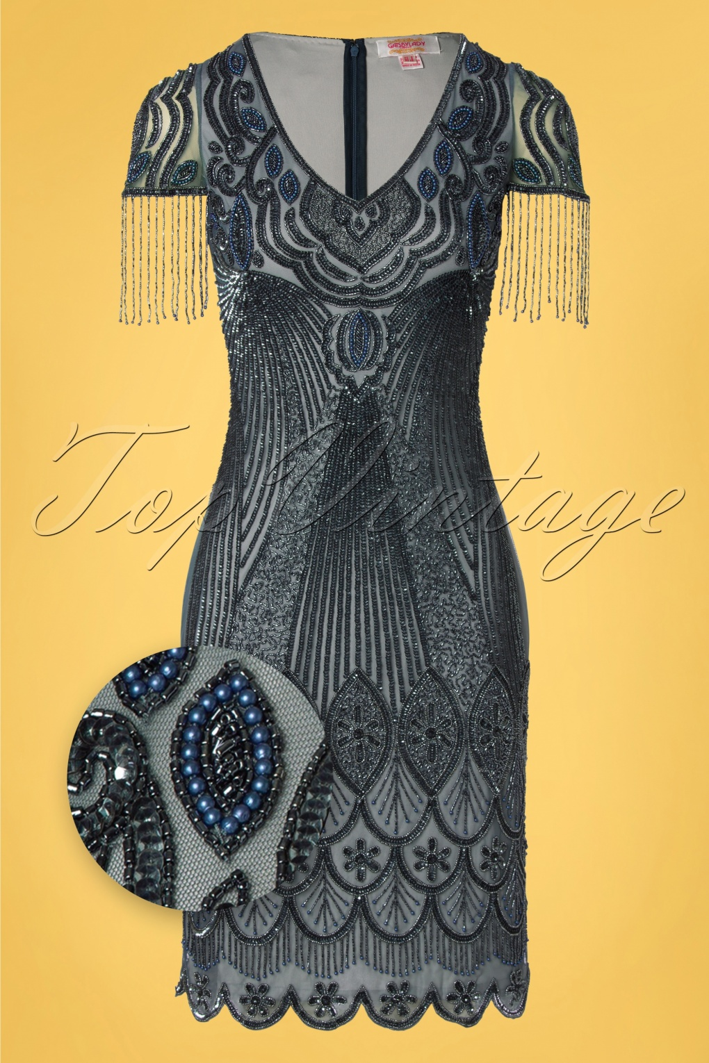 1920s Dresses UK | Flapper, Gatsby, Downton Abbey Dress 20s Marta Flapper Dress in Blue and Grey £117.44 AT vintagedancer.com