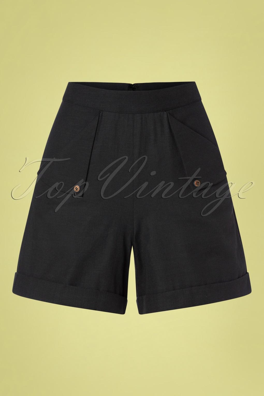 1950s Shorts History | Summer Clothing 50s Sweet Summer Sail Shorts in Black  AT vintagedancer.com