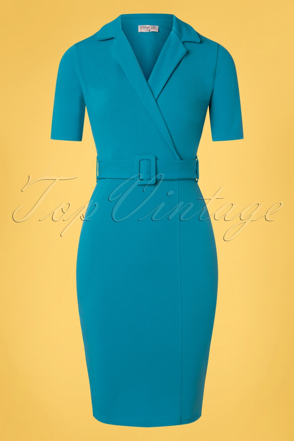 1950s Pencil Dresses & Wiggle Dress Styles 50s Denysa Pencil Dress in Mosaic Blue £56.90 AT vintagedancer.com