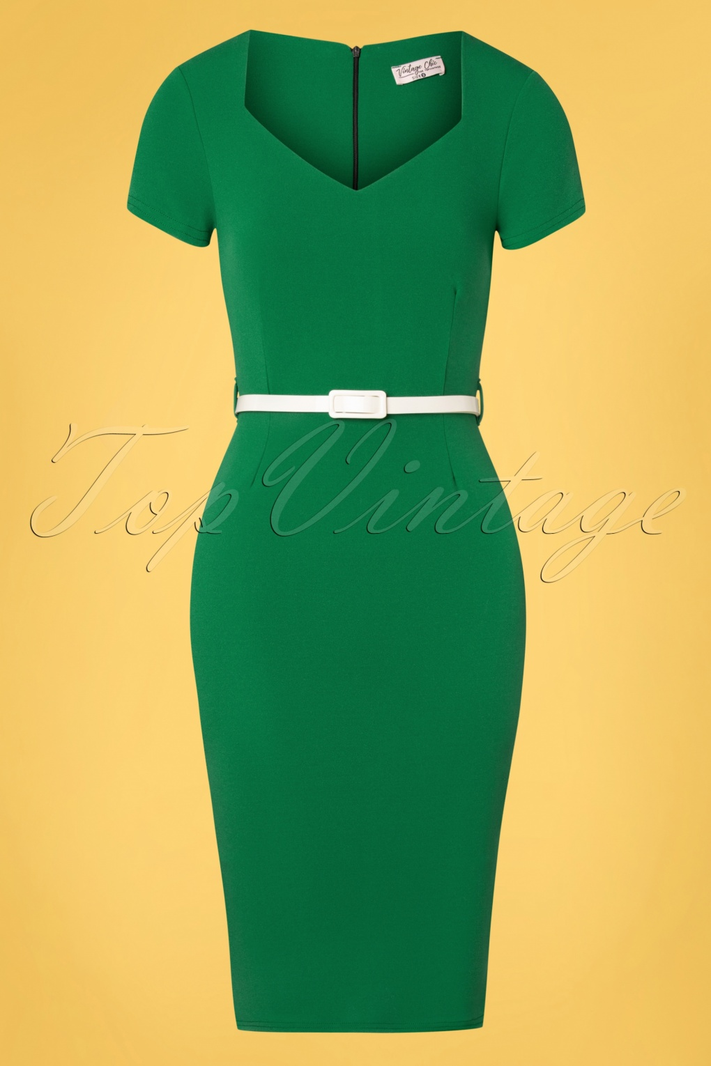 1950s Pencil Dresses & Wiggle Dress Styles 50s Melany Pencil Dress in Emerald Green £54.18 AT vintagedancer.com