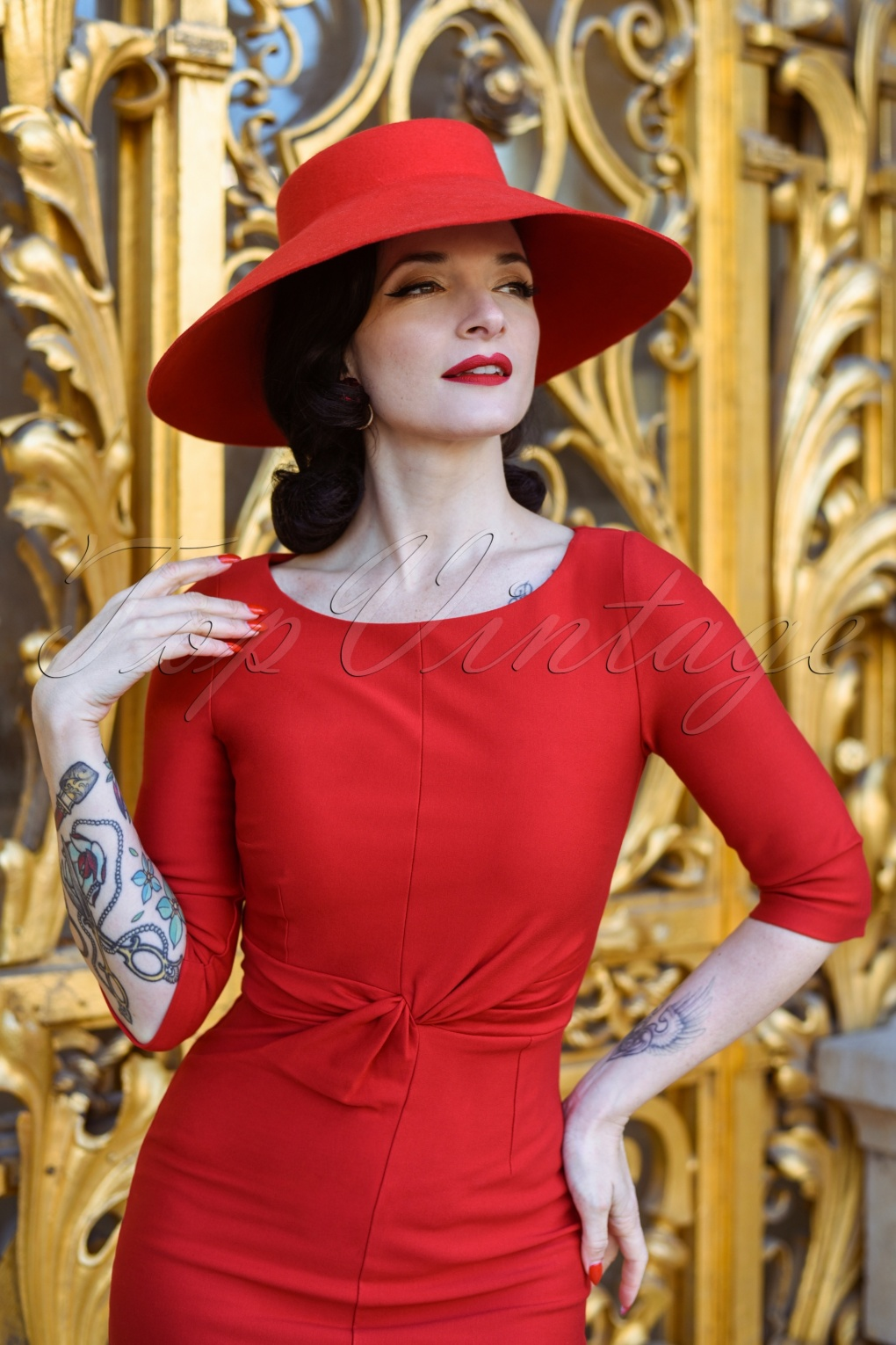 1950s Pencil Dresses & Wiggle Dress Styles The Jean Pencil Dress in Ravishing Red £103.88 AT vintagedancer.com