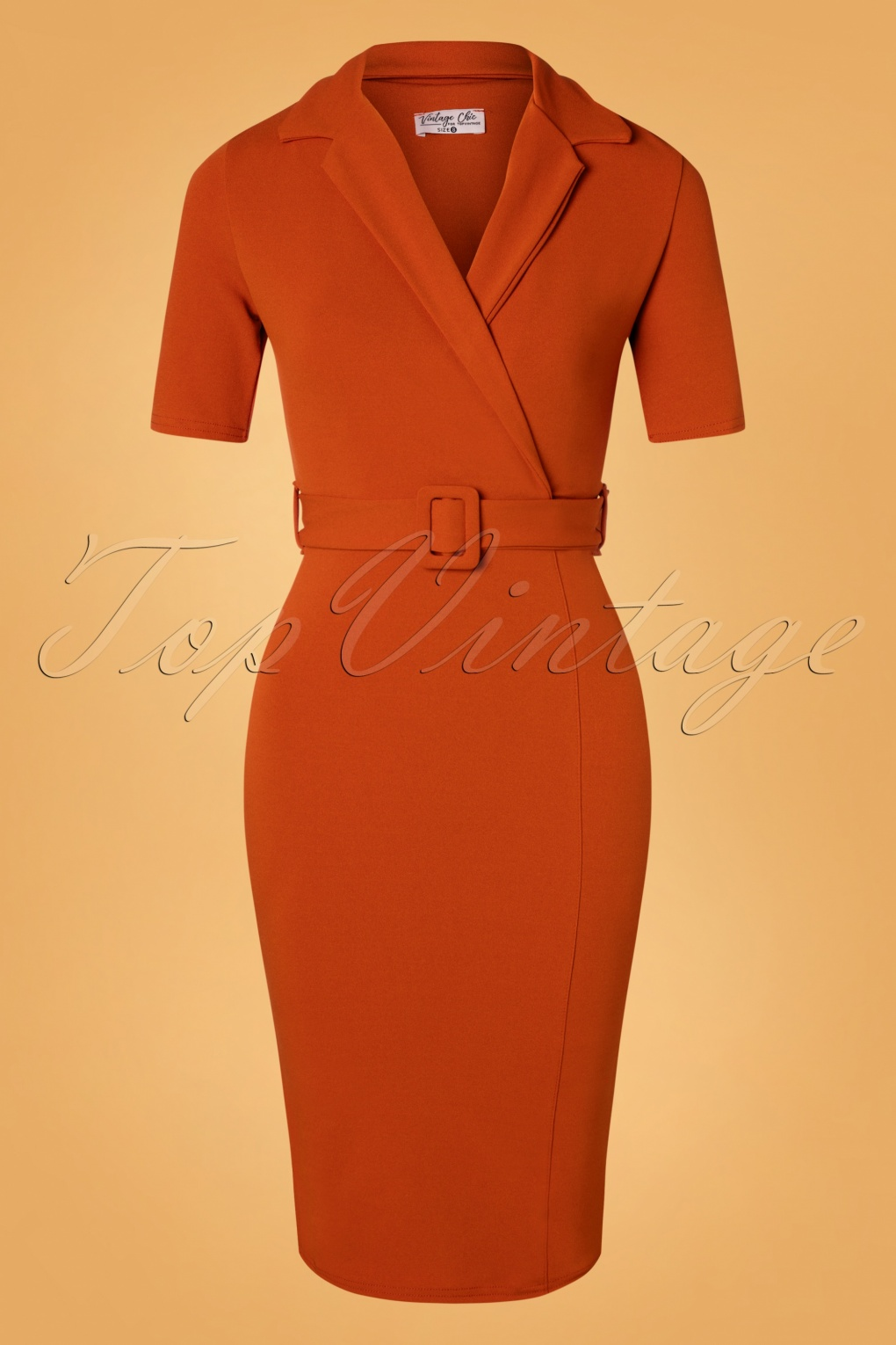 1950s Pencil Dresses & Wiggle Dress Styles 50s Denysa Pencil Dress in Cinnamon £63.22 AT vintagedancer.com