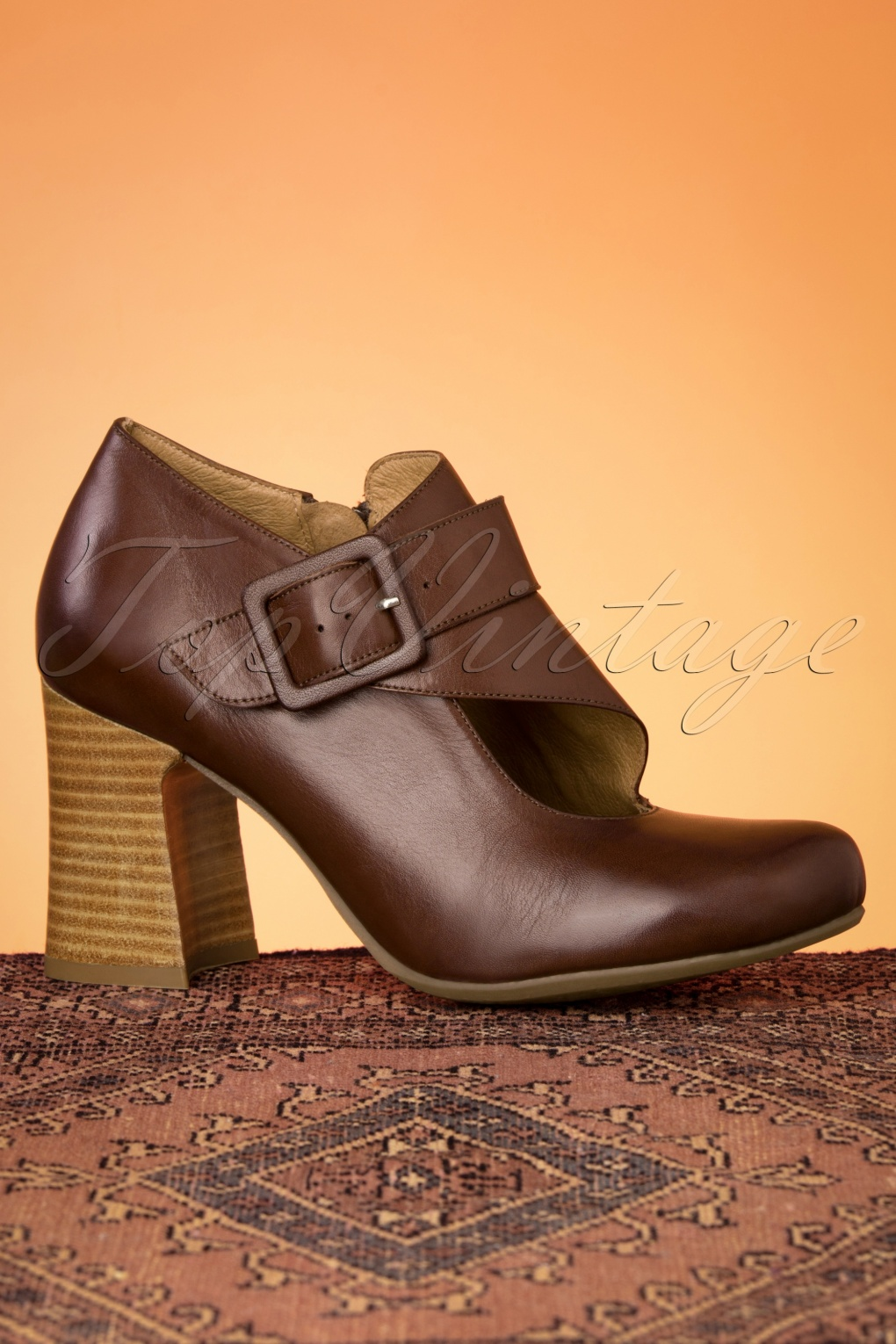 60s Shoes, Boots 60s Knight Leather Shoe Booties in Brown £136.70 AT vintagedancer.com