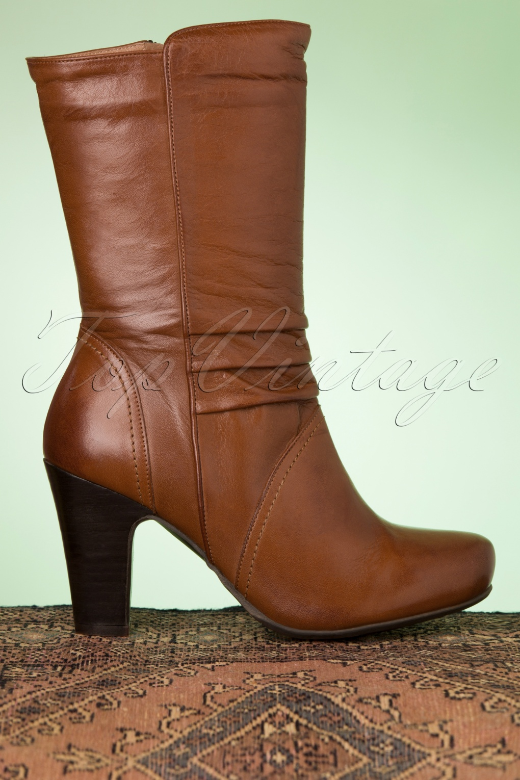 70s Shoes, Platforms, Boots, Heels | 1970s Shoes 70s Kellim Leather Boots in Brandy £154.02 AT vintagedancer.com
