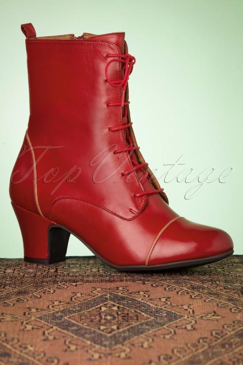 Bottine femme rétro cuir vernis rouge années 60 bout carré