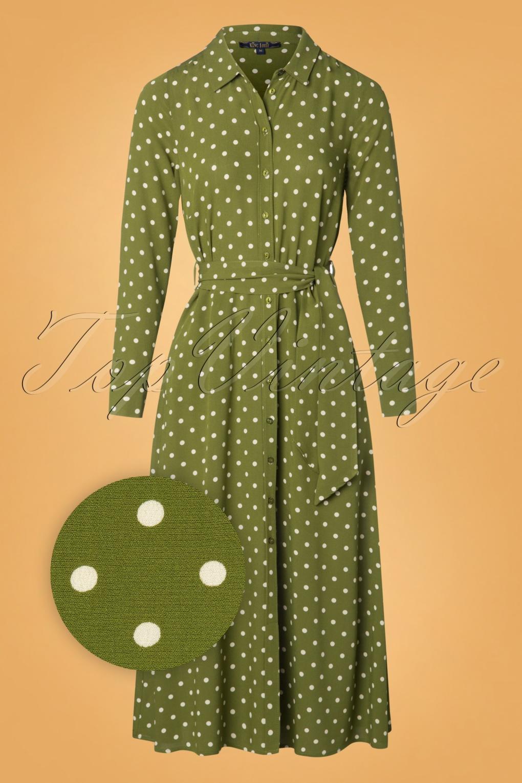 60s Dresses | 1960s Dresses Mod, Mini, Hippie 60s Rosie Pablo Midi Dress in Olive Green £108.50 AT vintagedancer.com