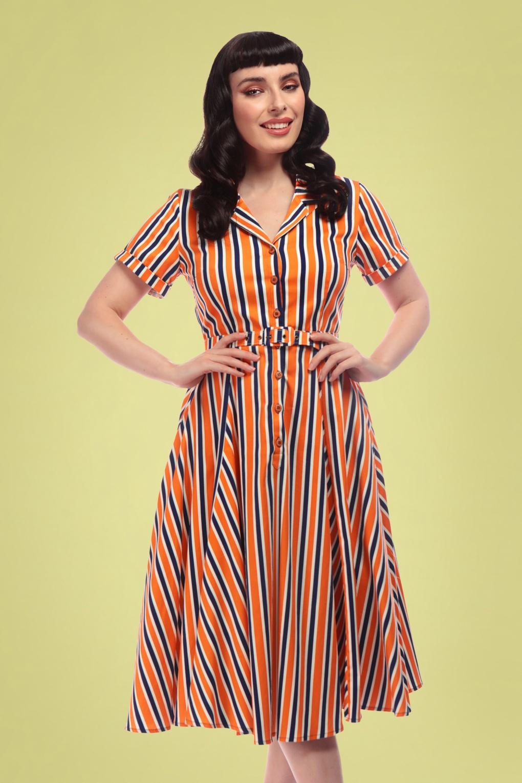 Vintage Style Shirtwaist Dresses, Shirt Dresses 50s Caterina Bay Stripe Swing Dress in Orange and Blue £24.95 AT vintagedancer.com