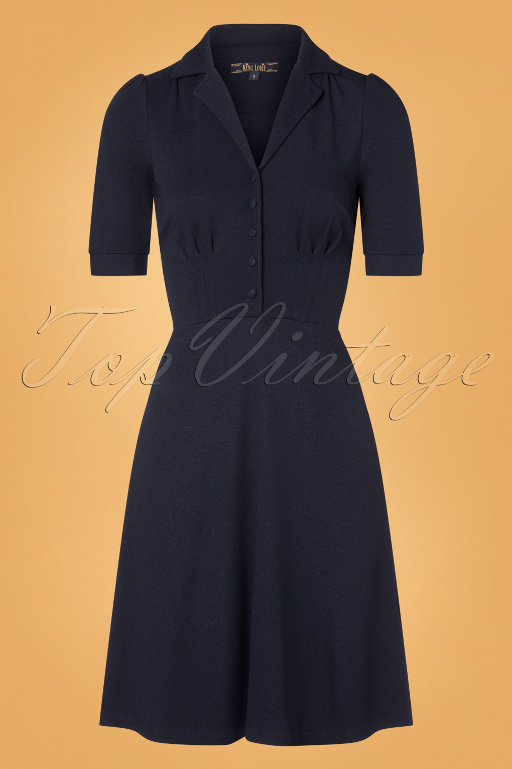 Vintage Shirtwaist Dress History 40s Milano Diner Crepe Dress in Sapphire Blue £90.49 AT vintagedancer.com