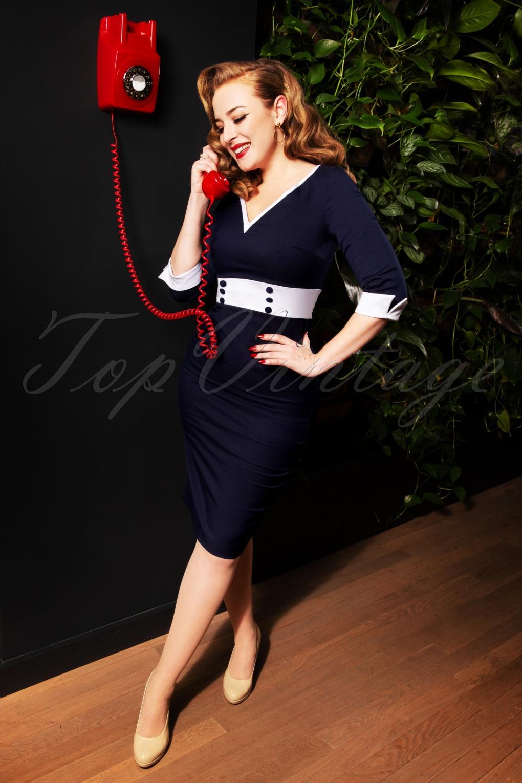 1950s Dresses, 50s Dresses | 1950s Style Dresses 50s Margie Pencil Dress in Navy £99.15 AT vintagedancer.com