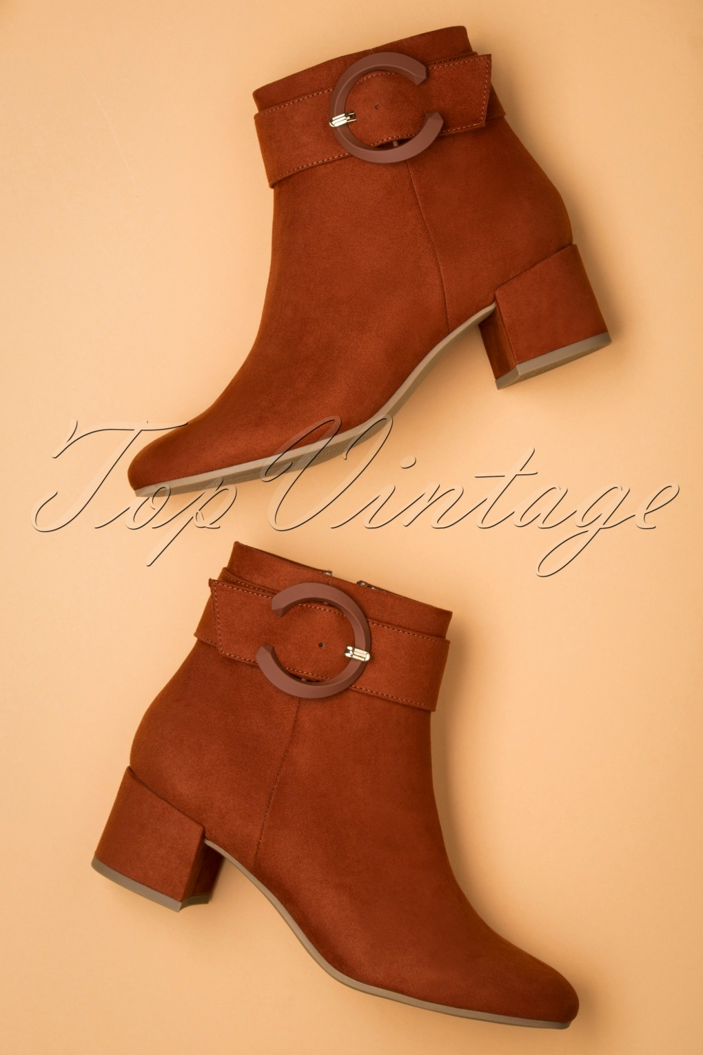 70s Shoes, Platforms, Boots, Heels | 1970s Shoes 70s Jessy Suedine Ankle Booties in Cinnamon £55.09 AT vintagedancer.com