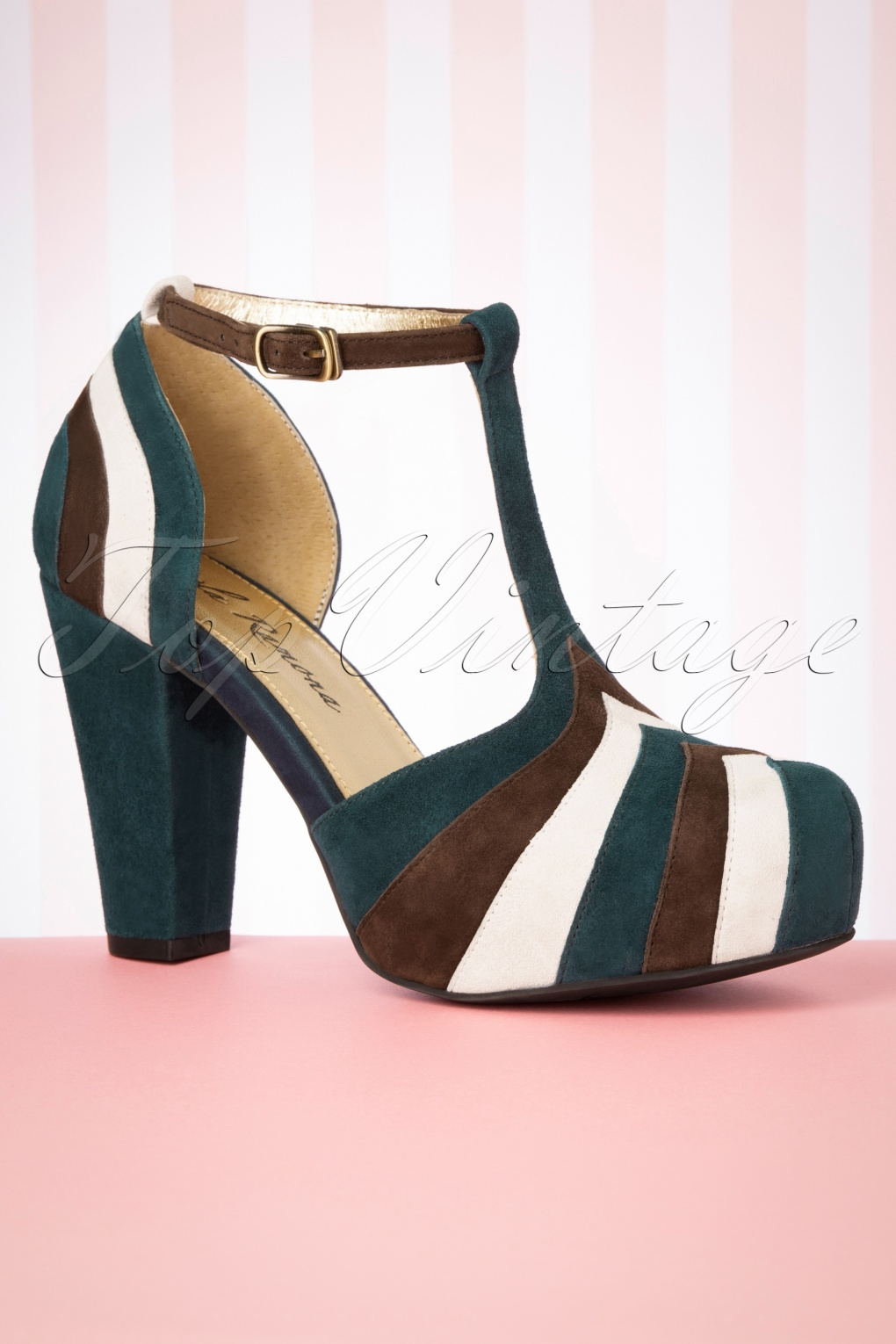 70s Shoes, Platforms, Boots, Heels | 1970s Shoes 70s Angie T-Strap Soul Pumps in Teal £142.18 AT vintagedancer.com
