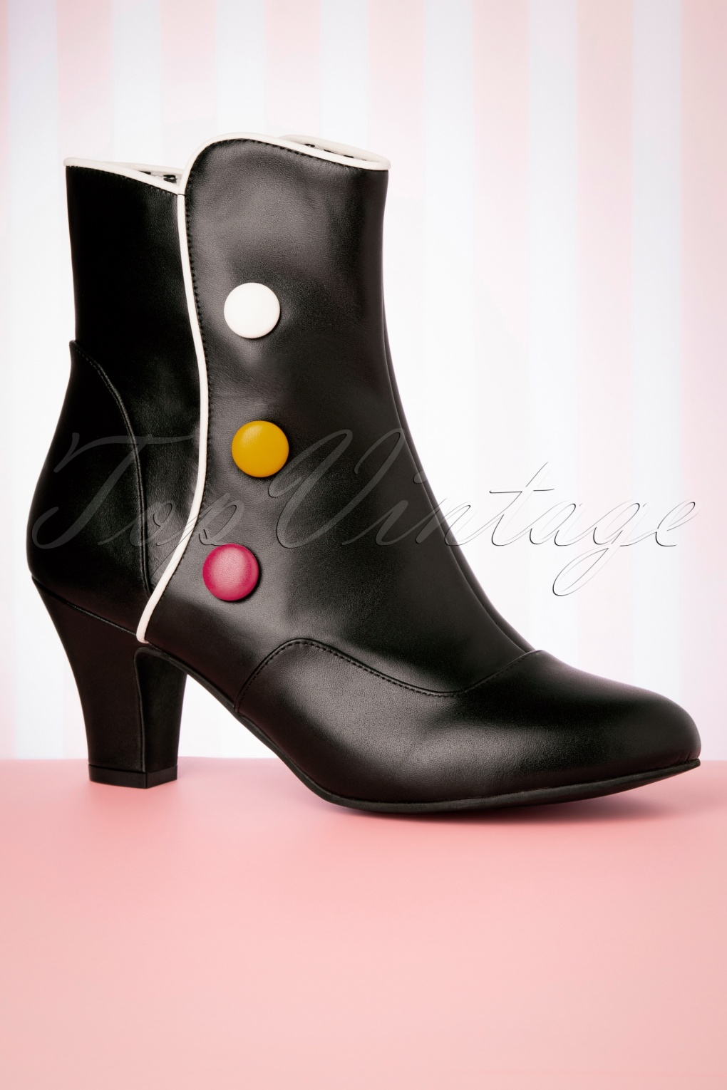 70s Shoes, Platforms, Boots, Heels | 1970s Shoes 50s Ava Smartie Ankle Booties in Black £183.72 AT vintagedancer.com