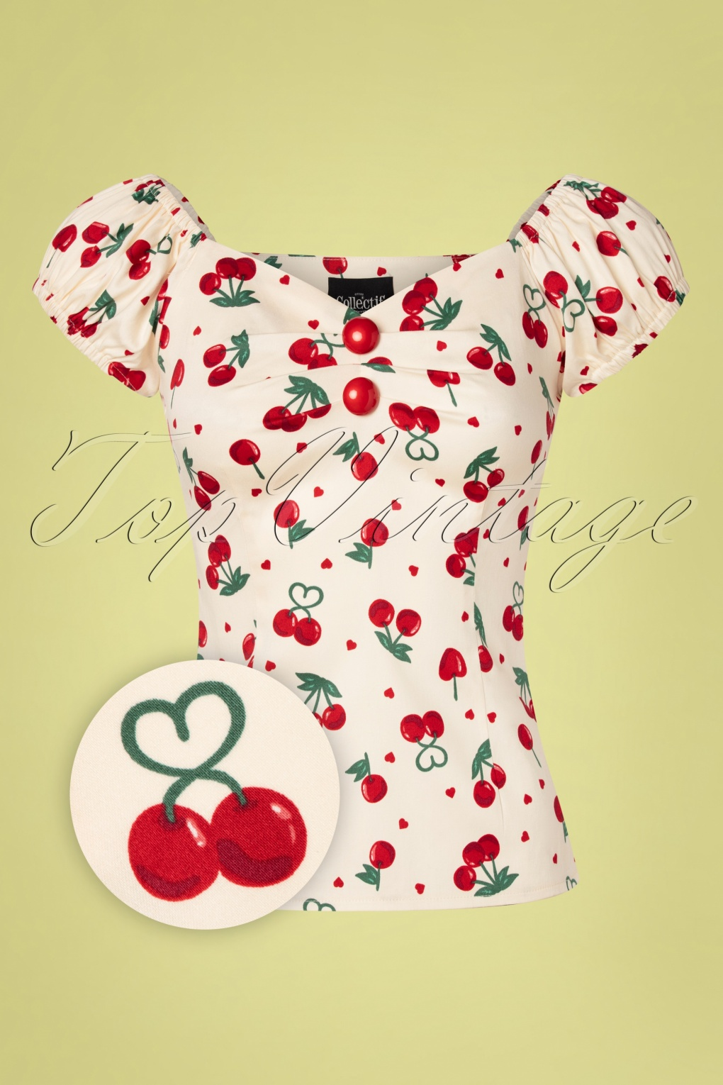 1950s Rockabilly & Pin Up Tops, Blouses, Shirts 50s Dolores Cherry Love Top in Cream £27.01 AT vintagedancer.com