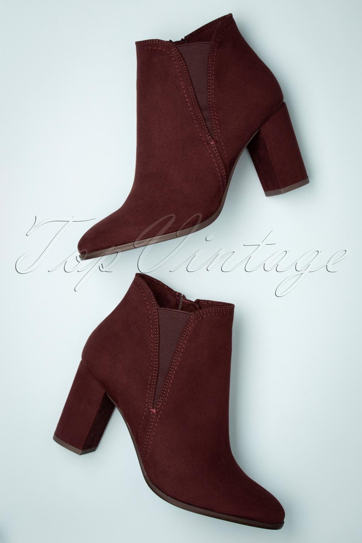 60s Tawny Suedine Ankle Booties in Burgundy