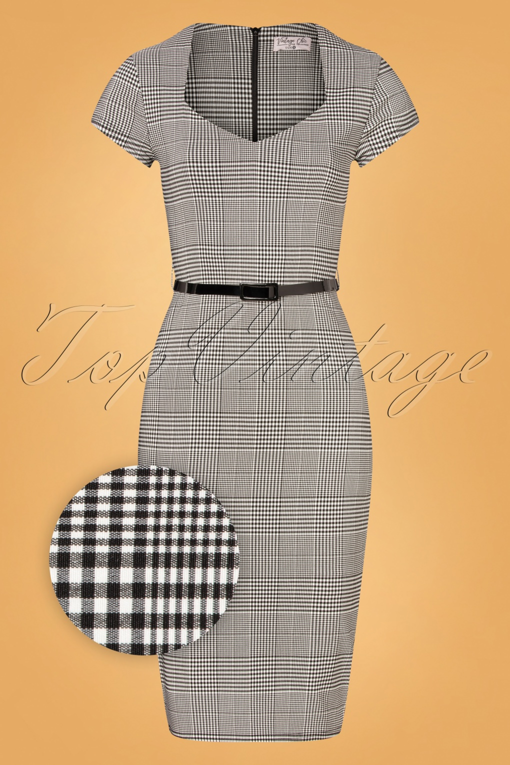 1950s Dresses, 50s Dresses | 1950s Style Dresses 50s Melany Houndstooth Pencil Dress in Black and White £58.35 AT vintagedancer.com