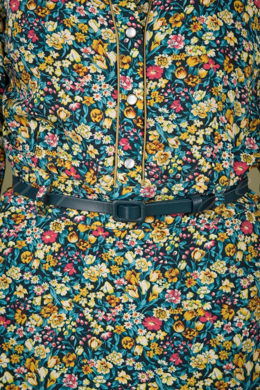1960s Style Dresses, Clothing, Shoes UK 60s Leather Covered Belt in Pond Blue £27.12 AT vintagedancer.com