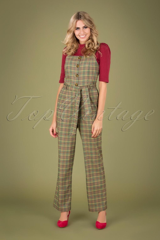 1940s Swing Pants & Sailor Trousers- Wide Leg, High Waist 40s Ines Miso Jumpsuit in Brunette Brown £119.40 AT vintagedancer.com