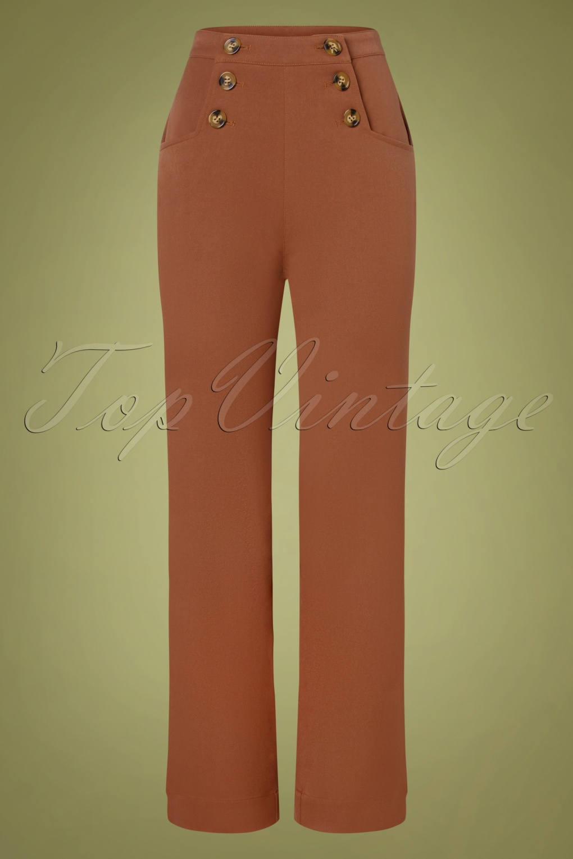60s – 70s Pants, Jeans, Hippie, Bell Bottoms, Jumpsuits 60s Sailor Broadway Pants in Brunette Brown £81.11 AT vintagedancer.com
