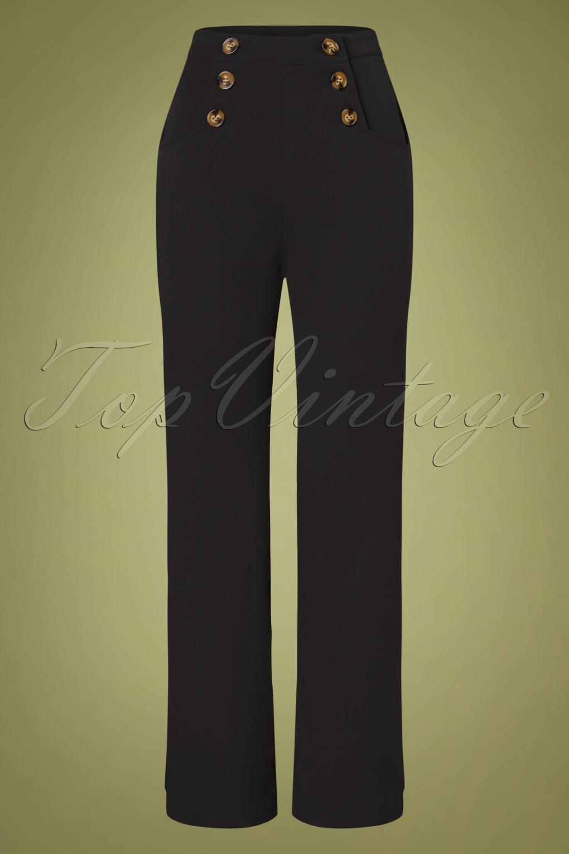 60s – 70s Pants, Jeans, Hippie, Bell Bottoms, Jumpsuits 60s Sailor Broadway Pants in Black £82.23 AT vintagedancer.com