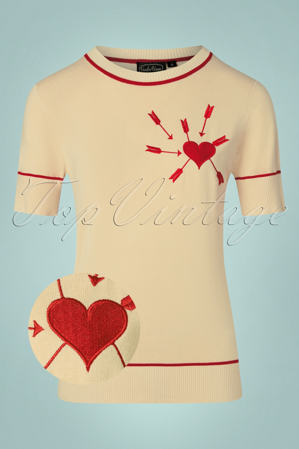 1950s Sweaters, 50s Cardigans, 50s Jumpers 50s Jamie Arrow Through The Heart Pullover in Beige and Red £36.17 AT vintagedancer.com