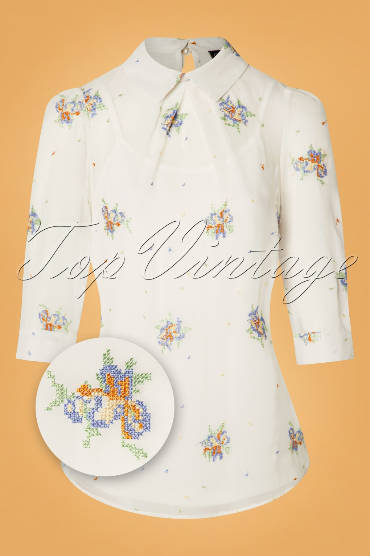 Wonder Floral Blouse Années 50 en Blanc