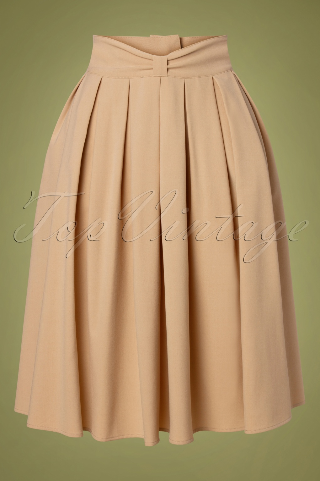 1940s Style Skirts- Vintage High Waisted Skirts 40s Bliss Swing Skirt in Beige £45.75 AT vintagedancer.com